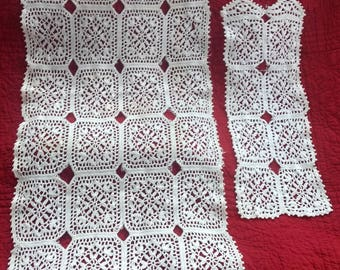 """Lot of 2 Rectangular Doilies-White-40"""" x 18"""" and 20"""" X 8""""-Same Pattern-Good Condition"""