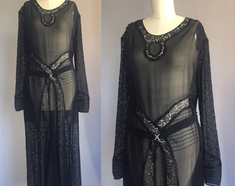 1930s Sheer Black Silk Dress with Geometric Lace Insets - Long Sleeves with Crescent Moon Rhinestone Buckles - XL