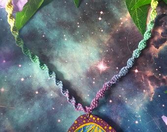 Cosmic rainbow hand painted wooden pendant with hemp macrame