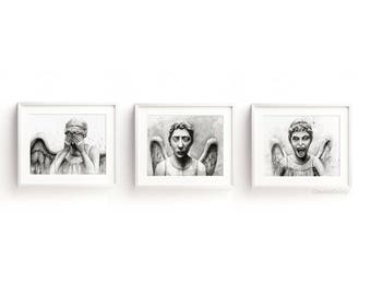 Weeping Angels Art Prints Weeping Angels Wall Decor Sci-fi Doctor Who Wall Art Geen Home Decor Don't Blink Watercolor Prints Set of 3