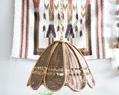 Vintage Hanging Wicker Pendant Lamp Boho 70's Light Fixture