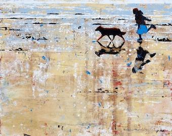 "Girl on BEACH - ART print of ""On Golden Shores"" - painting by Melanie McDonald artist - child and dog on beach - wall art - beach print"