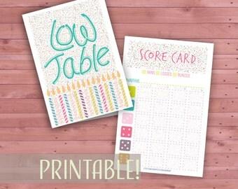 Birthday Bunco Set, Printable Birthday Bunco Cards,  Matching Bunco Tally Sheets, Instant Download Bunco Score Cards, Bunco Table Cards