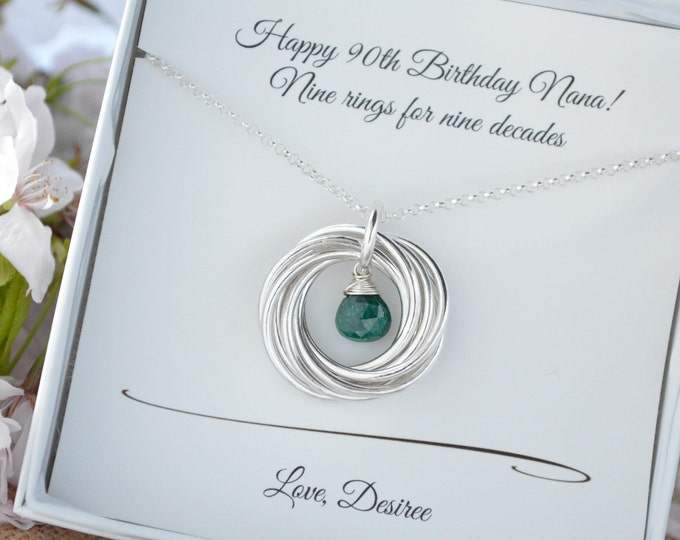 90th Birthday gift for mom and grandma, 9 Rings interlocking necklace, May birthstone necklace, Emerald birthstone necklace, Gift for mother