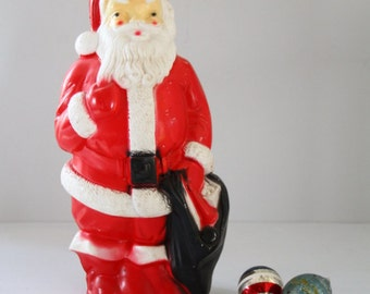 Vintage Santa Plastic Blowmold Empire Display Light Up Retro Christmas Decor Retro