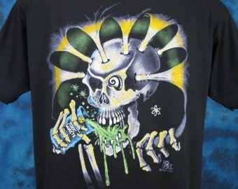 MEDIUM*** Vintage 80s TOXIC WASTE Skeleton Paper Thin T-Shirt beer biker skull punk biker zombie goth rock skate soft concert