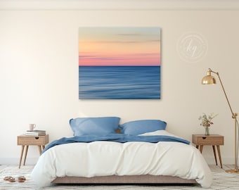 Large Canvas Abstract Art, Coastal Wall Print, Modern Art, Cape Cod Photograph, Square Canvas Artwork, Oversize Beach Art, Orange Blue Pink