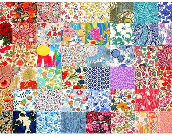"Sale 10% off Liberty Fabric 48 Mini Charm Squares 2.5"" Bundle Patchwork Quilting Floral Bright Rainbow Colours Liberty of London Tana Lawn"