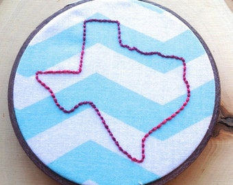 Framed Outlined State Of Texas Embroidery on White And Blue Fabric, Finished Piece