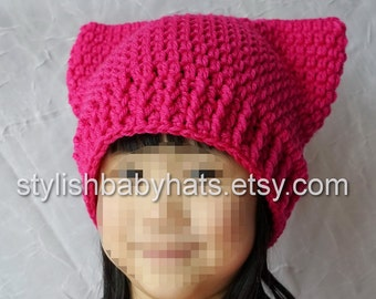 Pussyhat, Baby/Toddler/Child, Pink Pussyhat Project, Pink Cat Hat, Crochet Hat, photo prop, Inspired by Pussyhat Project