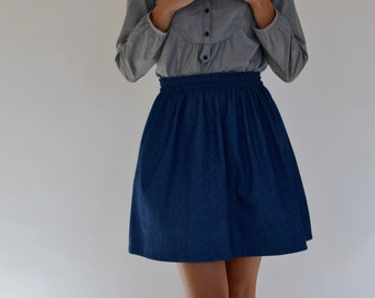 denim skirt / flared denim skirt / full denim skirt / A line denim skirt / short denim skirt / miniskirt / skirt / gathered waist