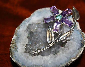 SALE! Vintage Sterling Silver Amethyst Glass Flower Exquisite Designer High End Brooch BU21