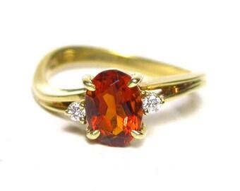 14k Yellow Gold Mandarin Citrine Quartz Ring - Size 6 - Diamonds Color F - Clarity VVS - Oval Citrine Round Diamonds # 1397
