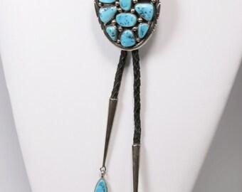 Vintage Angeline Miller Navajo Silver & Kingman Turqouise Bolo Tie