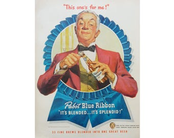 Pabst Blue Ribbon Ad - 1940's PBR Vintage Advertising - Bar Wall Art