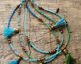 Bohemian Multi Layer Tassel Necklace Bohemian Dreams, Glass and Brass with Tassels
