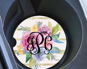 Faux glitter car cup holder coasters, Pink and blue floral auto decor, Monogrammed gifts for her (173)