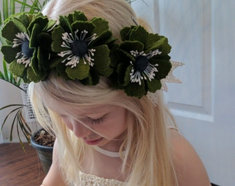 Moss Green Felt Flower Headband// Crown, Fascinator