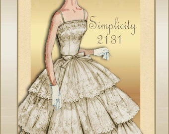 Simplicity 2131 1950s Dress Pattern Prom or Formal Evening Dress with Triple Tiered Flounce Skirt Wedding Dress Adaptability