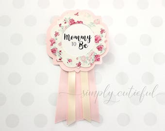 Shabby Chic Baby Shower Pin, Floral Shower Pin, Mommy to Be, Custom Party Name Tags, Party Favors