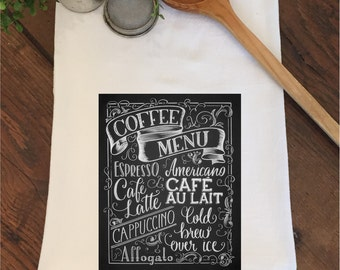 Coffee Station Bar Espresso Latte Cappuccino Cafe Flour Sack Hand Towel Tea Dish Kitchen Birthday Party Gift Wedding Bridal Shower Favors