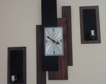 Vintage Mid Century Modern Verichron  Wall Clock with it's Matching Sconces,Battery Operated,Mid century wall Clock,Modern Wall Clock