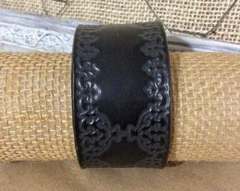 Black Tooled Leather Cuff Bracelet - Rustic Statement Bracelet - Distressed Leather Cuff - Boho Cuff -Indie Jewelry -Unisex Leather Cuff