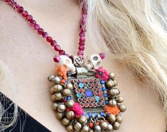 pink agate necklace, silver skull necklace, kuchi pendant, tassel necklace, kutch jewelry, tribal necklace, bohemian boho hippie festival