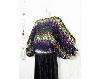 Vtg 70s Chevron Heavily Sequined Huge Bishop Sleeve Disco Top sz M