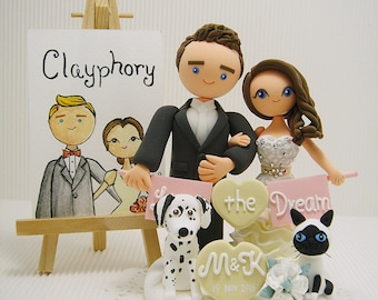 Cute couple with the banner and 2 pets custom wedding cake topper.