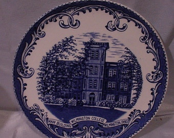 Vintage Blue and White Commemorative Plate WILMINGTON COLLEGE Ohio Made England