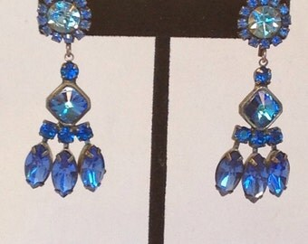 Vintage Chandelier Earrings Sapphire Blue Boho Chic Dangling Mid Century 50s Beauties Pierced Rhinestones Virgo Redesigned Wishanwearjewelry