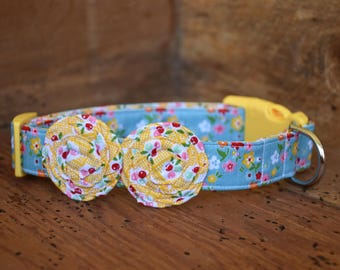 Flower Dog Collar - Blue Floral with Yellow Floral Flowers