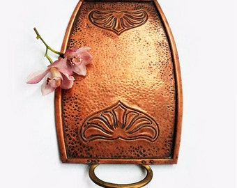 Antique Art Nouveau Copper Tray,Antique Copper serving tray,German Two Handle tray ,Art deco Tray