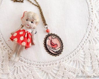 upcycled vintage bird necklace / bird cameo necklace / spring jewelry / fairy tale / cameo pendant / czech glass / upcycled necklace