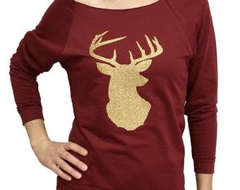 DEER shirt, womens Christmas shirt, deer head shirt for women, Chrismtas shirt for women, glitter deer shirt