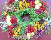 Colorful Dried Flower Wreath,French Country Wreath,Dried Floral Wreath,Floral arrangement,Country Decor,Fall Decor,Rustic Dried Flowers,