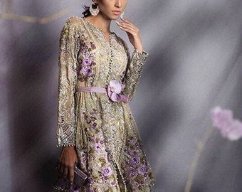 Beige and pink designer replica, Paksitani Dress, luxury formal chiffon shalwar kameez, luxury pret, Pakistani clothing, indian dresses