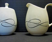 Caribe China Casual Shape Atomic Black Swirl Line and Dots Pattern - Creamer and Sugar Set with Lid