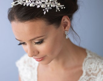 Pearl & Crystal Bridal Headband, Side Wedding Headpiece, Silver Floral Bridal Headband, Wedding Headband, Floral Hair Accessory ~TI-3268