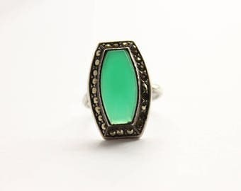 Vintage Chrysoprase Art Deco Sterling Ring with Marcasite Stones, Size 5, Circa 1920's