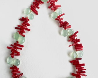 Coral and Chalcedony Necklace by KarenWhalenDesigns