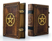"8"" x 10"" - Large Leather Book of Shadows ~ 700 pages ~ Medieval styled - Leather Sketchbook ~ Pentagram journal ~ Antiqued Journal"