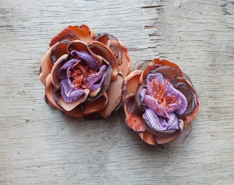 Caramel and Lilac Flower Corsage Hair Clip  by FairytaleFlower