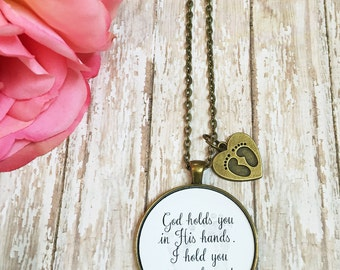 Baby Memorial Gift,Miscarriage Necklace,Stillborn Jewelry,Infertility Gift,Miscarriage Gift,God Holds You in His Hand,Baby Loss Gift