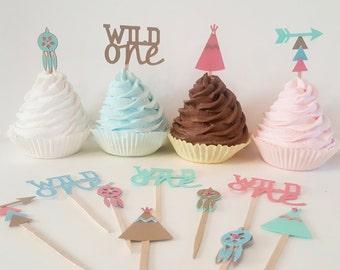 Wild One Cupcake toppers First birthday indian tribal decor boho native american tribal Bohemian