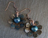 OOAK Copper Patina Flower Earrings with Apatite Gemstones