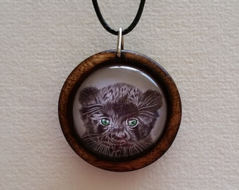 Baby Panther Pendant in Burnt Laurel + Free Shipping Worldwide,  baby panther jewelry, baby animal jewelry, panther necklace, rustic jewelry