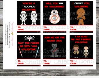 Instant Download, Printable Valentine Cards, star wars Valentine's Day Cards, Classroom Cards, Valentine's Day, Kids Valentine Cards