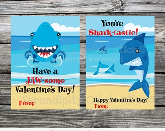 Instant Download, Printable Valentine Card, Shark Valentine Cards, Shark, Shark Valentine Stickers, Shark Valentine Tags, Kids Valentines
